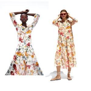 Zara floral print dress w/ lining medium red blue